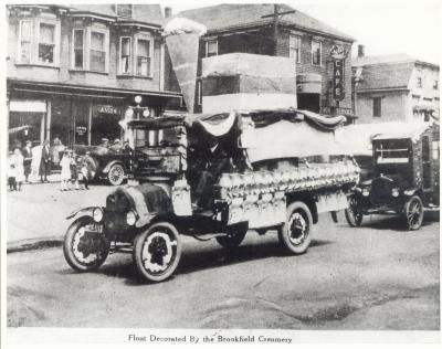 Parade Float 1922, decorated by Brookfield Creamery. I scream for ice cream.