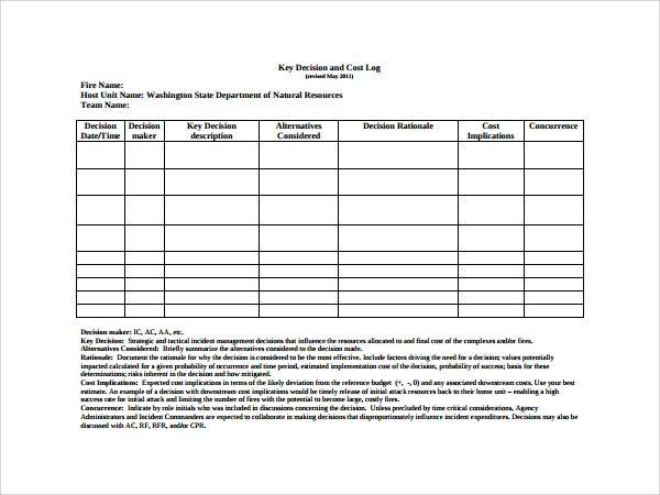 12 Decision Log Templates Templates Templates Printable Free