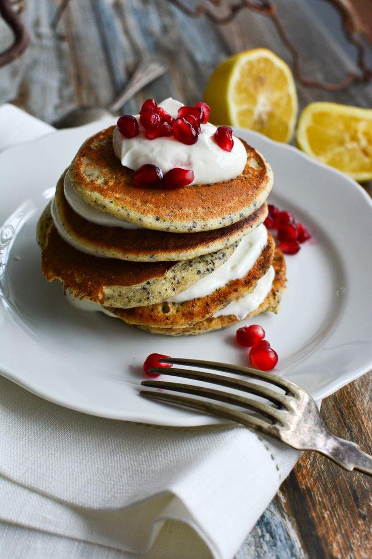 Pancakes Zitrone Mohn Topfencreme