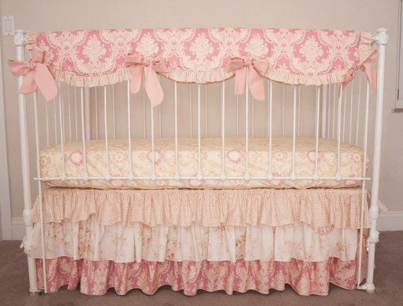 bumperless vintage floral rose pink damask and ivory juliet collection baby girl crib cot bedding with crib rail guard rail cover