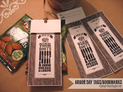 Arbor Day printable--a gift tag/bookmark combo. Shown here attached to a package of almonds. Visiting Teaching gift...