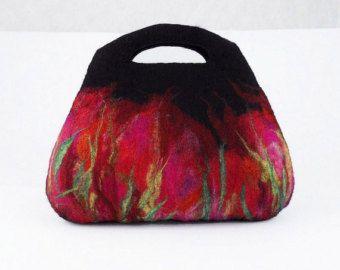 Felted Bag Black Purse Fairy Purse Felt Bag Black Bag by filcant