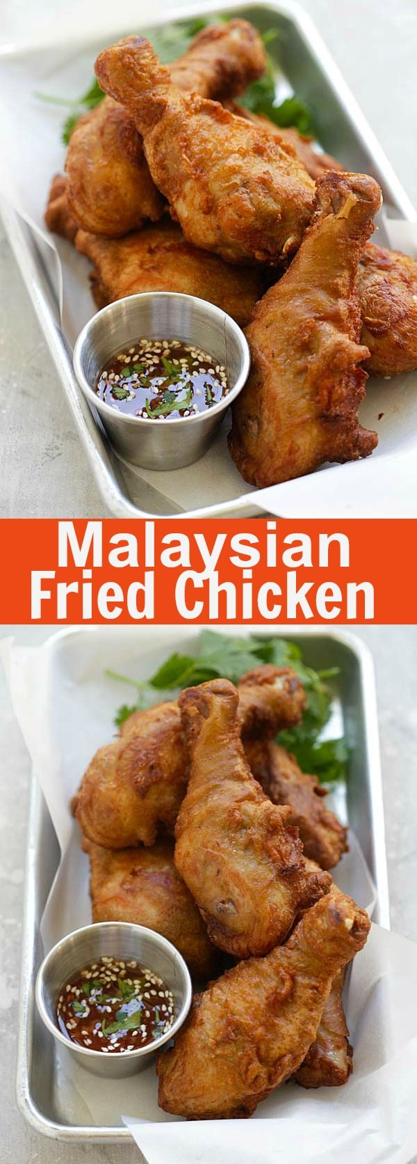 Belacan Fried Chicken – crispy and juicy Malaysian fried chicken marinated with cilantro and Asian seasonings. So delicious | rasamalaysia.com
