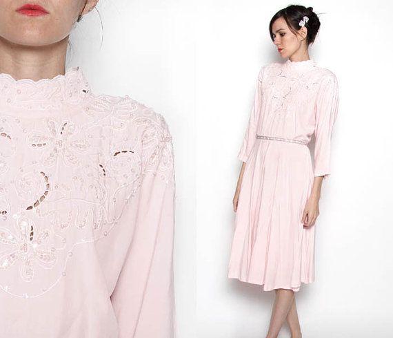 Vintage 80s Light Pink Wedding Dress / Tea length by VintageSpins, $56.00