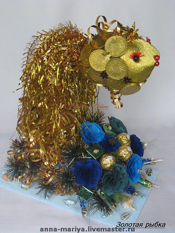 Купить Золотая рыбка (букет из конфет) - сладкий подарок, подарок на любой случай, подарок на свадьбу
