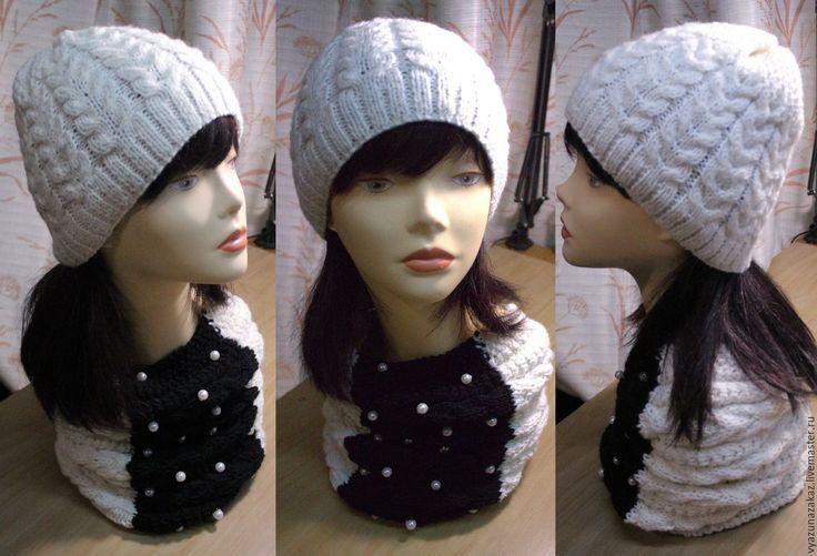 Купить Комплект : шапка со снудом - комбинированный, комплект вязаный, комплект для девочки, комплект