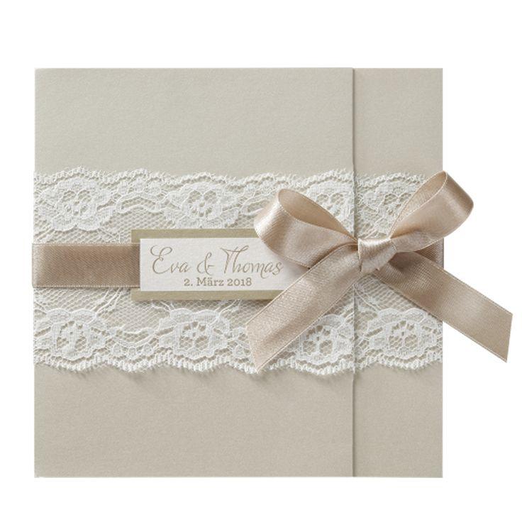 """Hochzeitseinladung """"weiße Spitze"""" - schimmernder Premiumkarton, Zierschleife in Taupe, weiße Spitze - sooooo romantisch und edel!"""