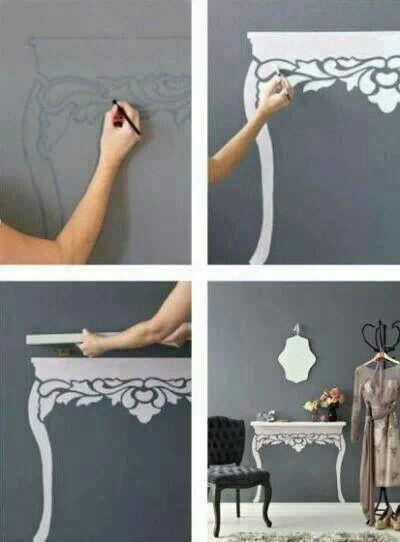 Geen plek voor een sfeervol tafeltje? Dan schilder je er toch een op de muur!