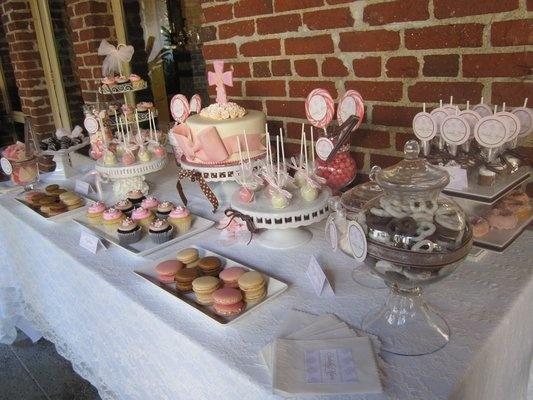 Vintage Baptism Candy Buffet & Dessert Bar pink & brown Fullerton | Yelp
