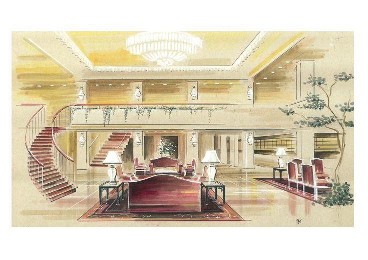 Вестибюль отеля.Рисунок