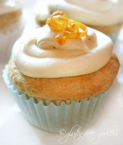 """Gluten-free vegan orange cupcakes @ Gluten-Free Goddess  I have made these. SO GOOD! I received many compliments on how they didn't seem to be Gluten Free, everyone thought they were """"Regular"""" cupcakes!"""