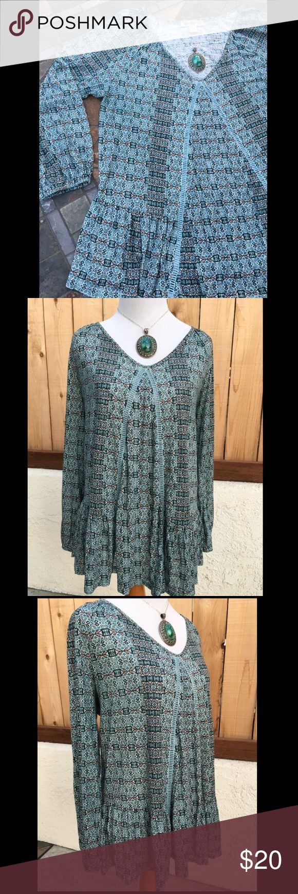 Teal Long Sleeve Smock Top Teal & grey smock top. Soft flowy 100% Cotton. In excellent like new condition. NO spots, holes or other damage. Price cut was $20. Vintage America Tops