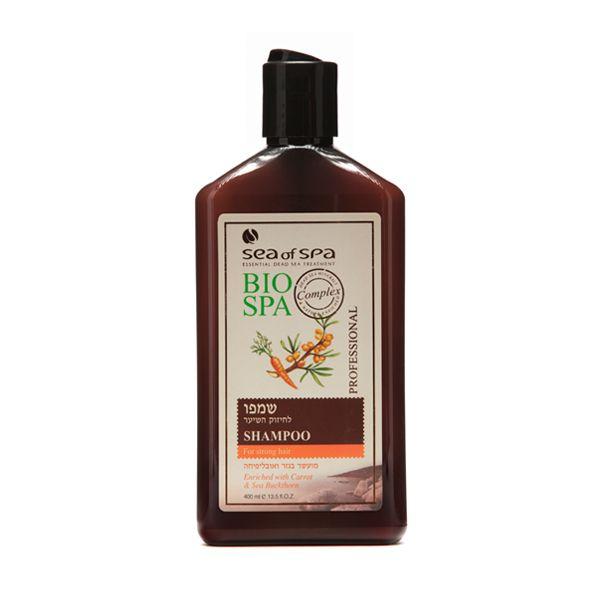 Szampon wzmacniający cebulki włosów z ekstraktem z marchwi i rokitnika zwyczajnego. Ten szampon przeznaczony jest do wzmacniania cebulek włosów. Wyjątkowa formuła wzbogacona o naturalne i aktywne minerały  z Morza Martwego, ekstrakt z marchwi, rokitnika zwyczajnego oraz witaminy A, C, E a także o prowitaminę B5. Dzięki temu formuła została tak opracowana aby wzmacniać i leczyć zarówno skórę głowy  i włosy jak i wzmocnić słabe korzenie.