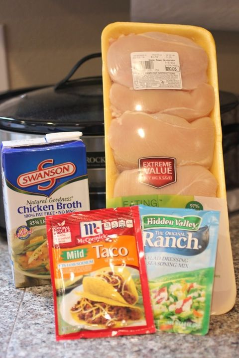 Crock Pot Ranch Chicken Tacos - chicken breasts,  taco seasoning, ranch seasoning, and chicken broth. Shred with fork. Can it get any easier?