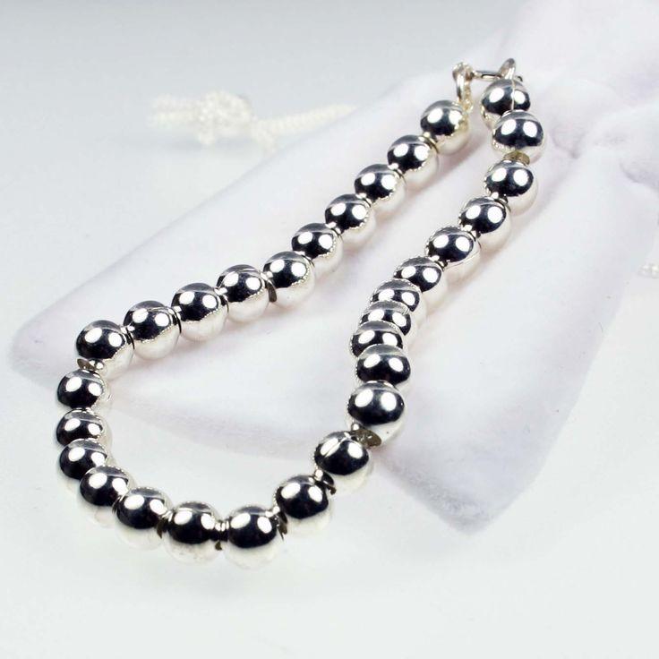Silver Ball Bracelet Medium #silver #jewellery