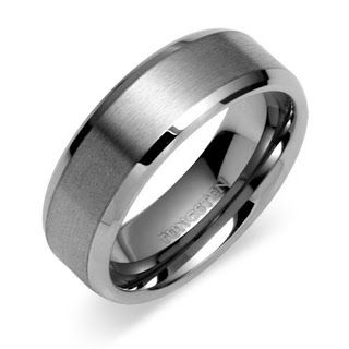 Men's Tungsten Wedding Band. Something like this or the baseball band I showed you?