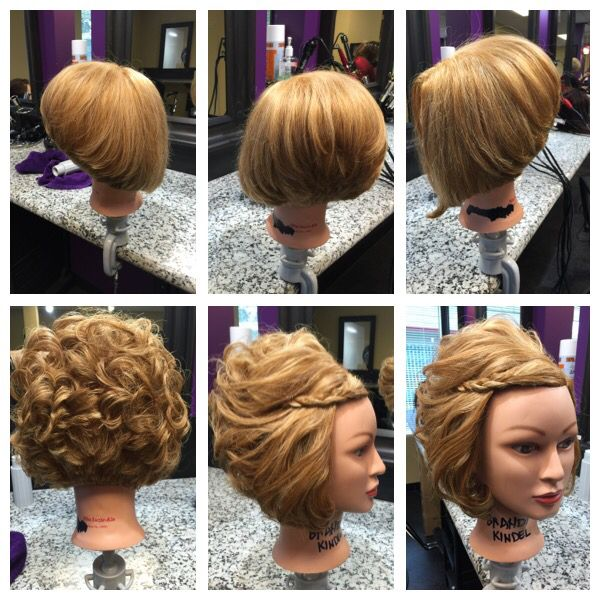 Gorgeous a line cut I did on my mannequin then curled the hair with a flat iron and styled in to a short updo for a formal occasion!