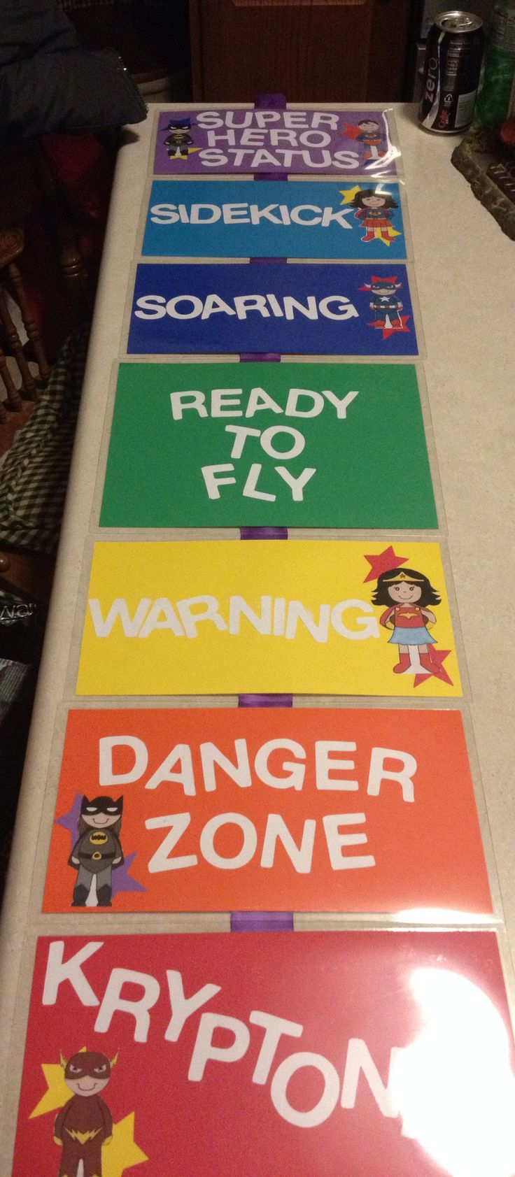 Behavioral Chart: Superhero Theme :) Use Clothes pin to decorate into students…