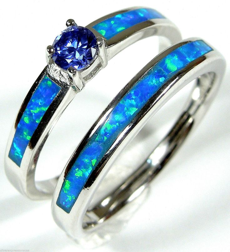 """nice От #eBay: """"Tanzanite & Blue Fire Opale Inlay 925 Sterling Silver Solitaire & Ring Ring Set """""""