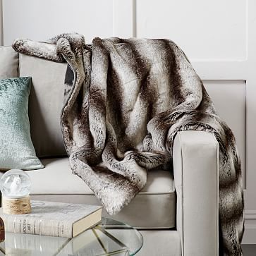 Sofa Covers Faux Fur Ombre Throw Gray West Elm