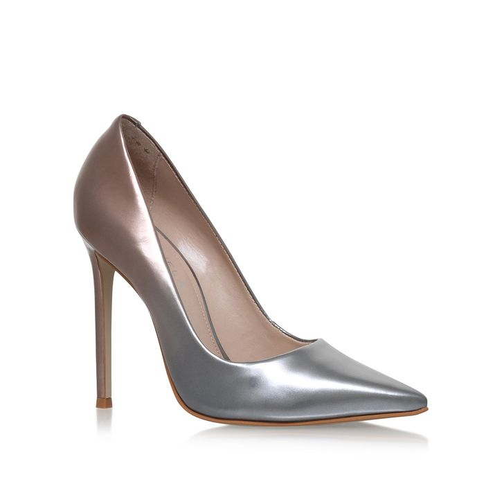 Alice Pink High Heel Court Shoes By Carvela Kurt Geiger | Kurt Geiger  This streamlined court stands tall on a slim 120mm heel, graduating from bronze to silver at the toe. Add a splash of seasonal colour to evening looks with the on-point ombre styling of Alice from Carvela Kurt Geiger.