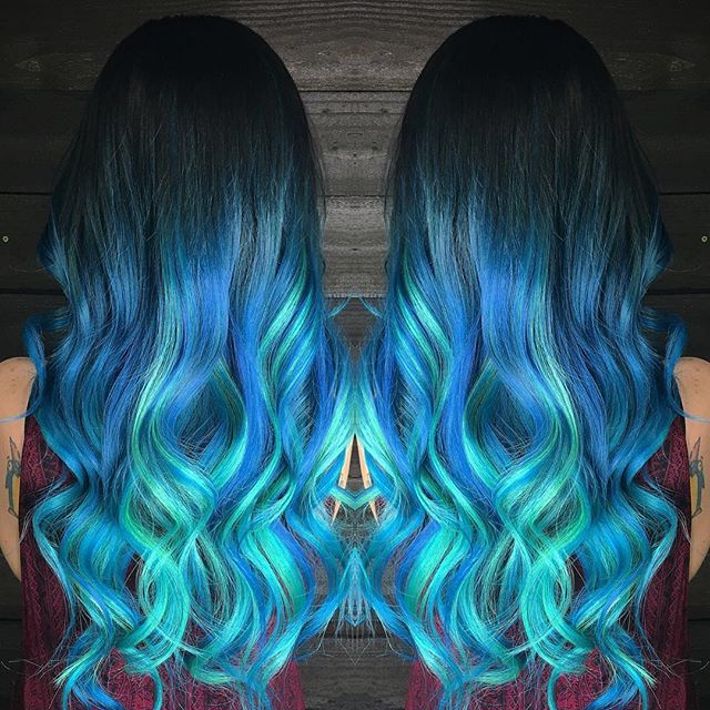 Electric Blue Ombre Hair Color With Turquoise Extensions By Sorceress Mermaid Unicorn Long Wavy Ha Rainbow