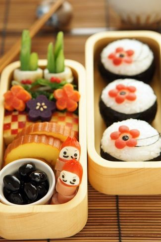 (177) Japanese New Year Bento Lunch|正月弁当 New Year is a big celebration in Japan, and this is a very cute bento to celebrate :3 | Bento & キャラ弁 & Food art | Pinterest