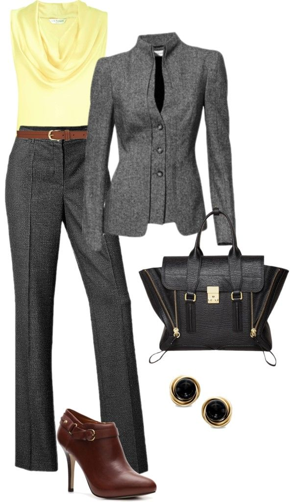 """Recreate with @CAbi Clothing My Favorite Trouser, Jet Set Jacket and Ochre Cami...""""Gray pant suit"""" by debbiedonothing on Polyvore"""