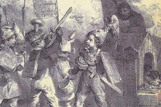 Από το εξώφυλλο: Λιθογραφία του N. Charlet, Παιδιά παίζουν τον πόλεμο Ελλήνων και Τούρκων.