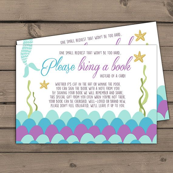 Baby shower Bring a book card Mermaid Baby shower Mermaid Book insert Girl Book card Purple Gold Blue Under the sea DIY Printable