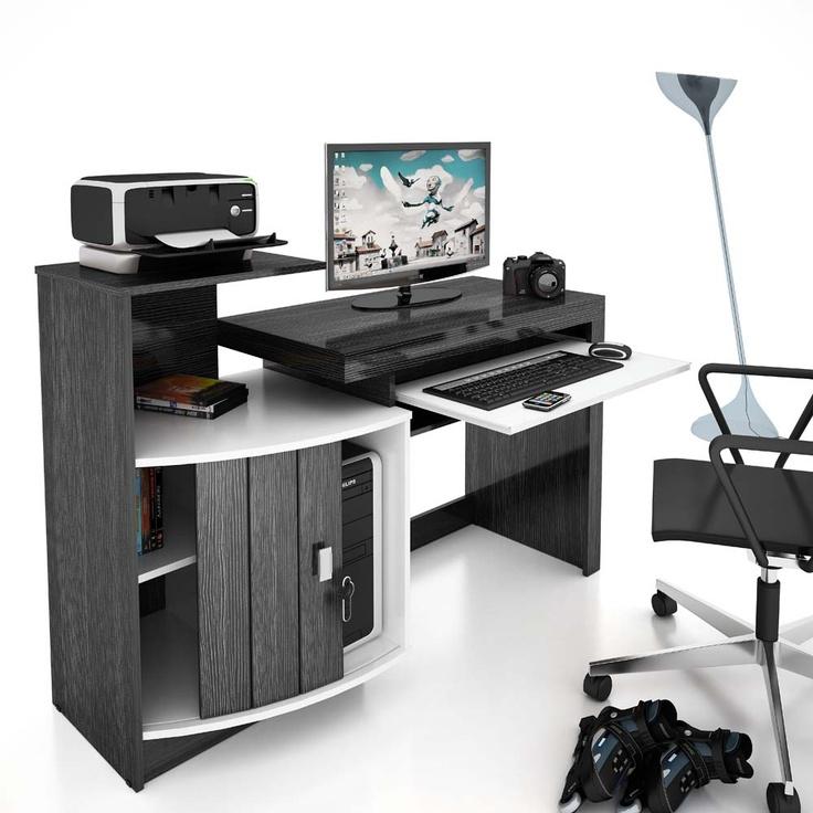 Mesa p/ Computador Vamol Shari - Branco/ Negro Zebrano - Mesas para Computador e Escrivaninhas no CasasBahia.com.br