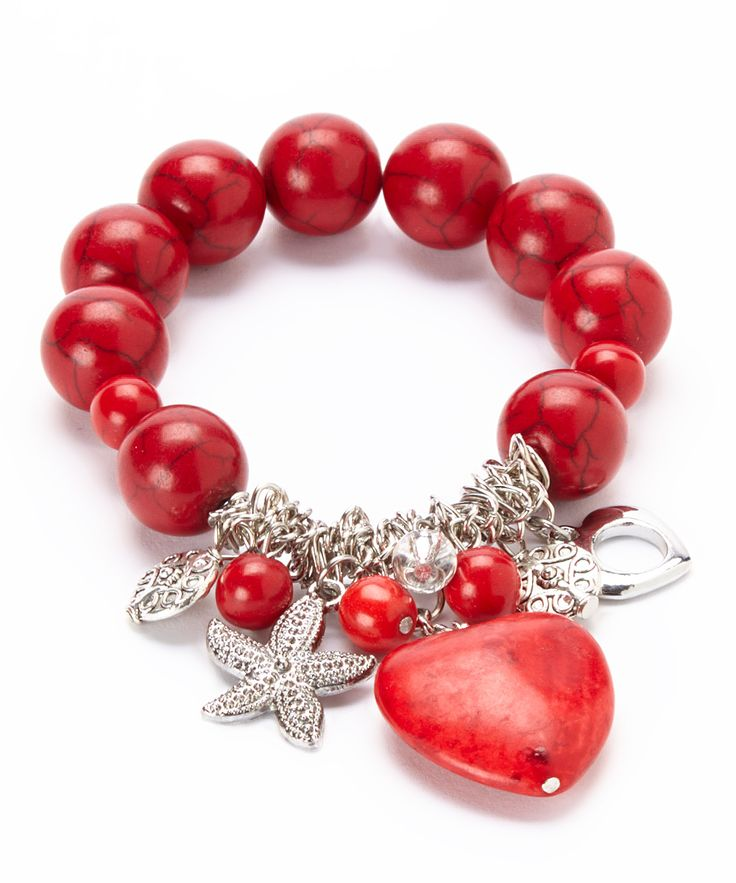 Red Turquoise Heart Charm Stretch Bracelet