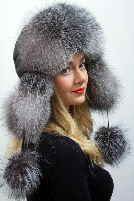 45ec7ecf738cc Silver Blue Frost Fox Fur Ushanka Aviator Hat with Leather And PomPom Saga  Furs