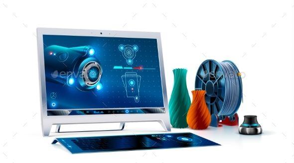 Computer Monitor, Keyboard, 3d Cad Software
