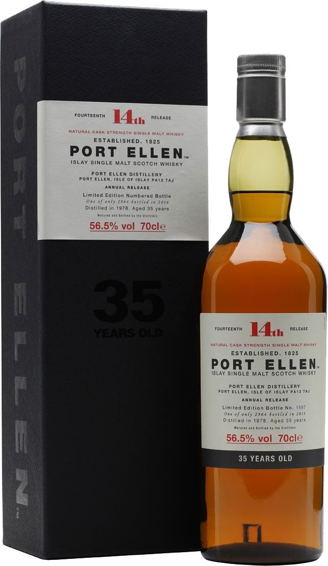 Port Ellen 14th Release 35 Year Old Single Malt #Scotch Whisky. The 14th annual release from the famed Port Ellen Distillery, this bottle of single malt #whisky is one of the most collectible in the world.   @Caskers