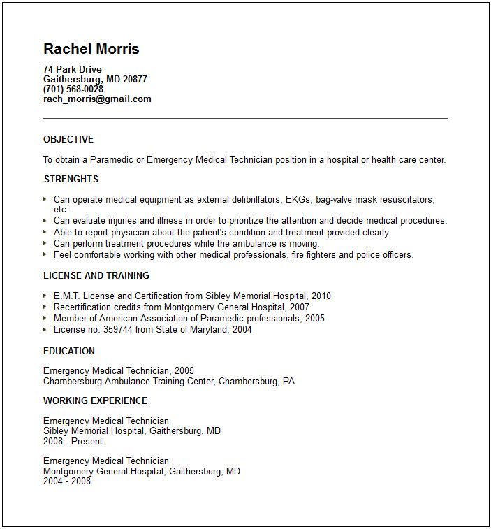 The  Best Firefighter Resume Ideas On   Sample Emt