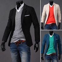 Brand 2014 male buckle fashion blazers slim small suit jacket black
