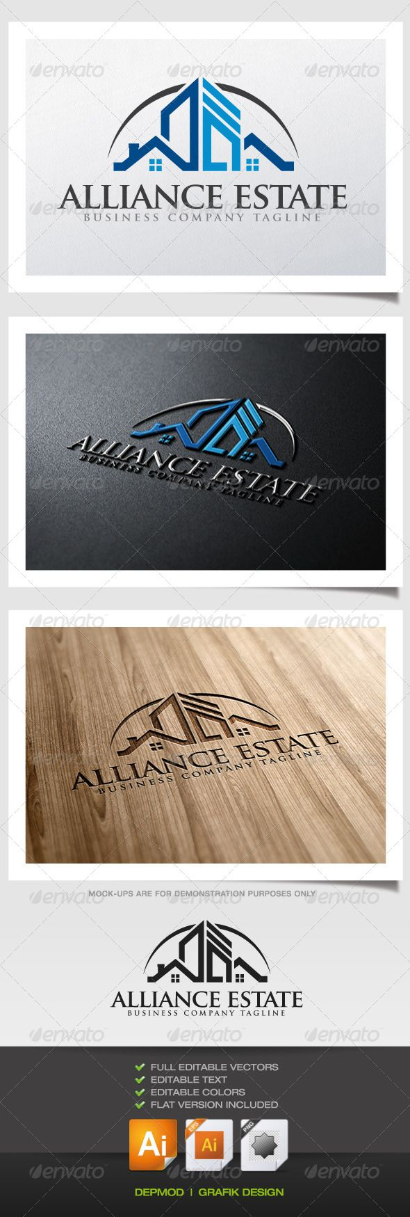 Alliance Estate Logo  #GraphicRiver         Logo of houses, roofs and buildings (skyscrapers). Can be used for many kind of project. Full vectors, this logo can be easily resize and colors can be changed to fit your colors project. Flat versions (black and grayscale)for print also included. The font used is in a download file in the package.   Font :  .fontpalace /font-details/TrajanPro-Bold+OTF/   Files provided : .ai (CC and CS), .eps, .jpg, .png (transparent)     Created: 11October13
