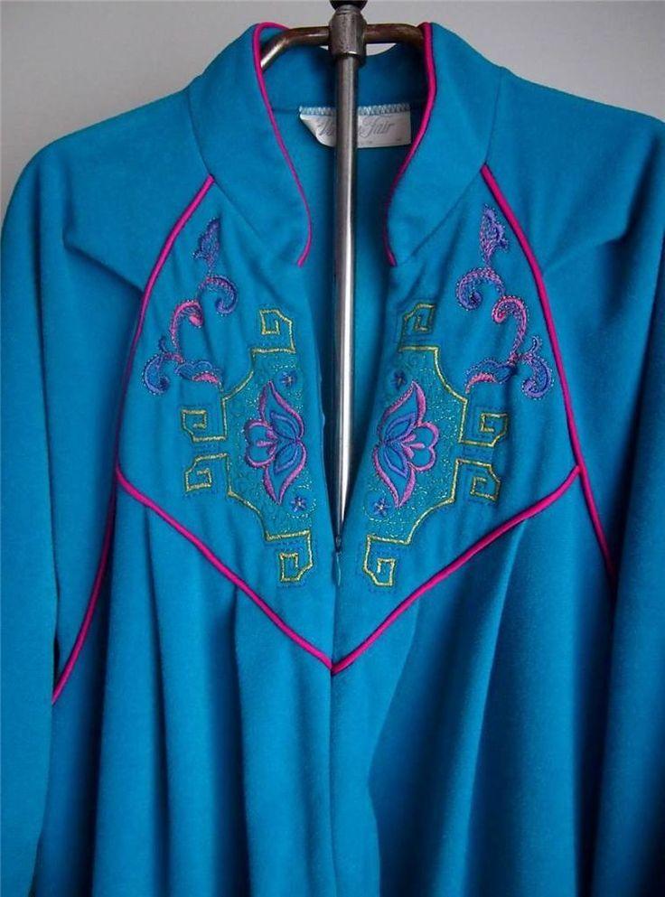 Vtg Vanity Fair Turquoise Blue Velvet Velour Zip Front