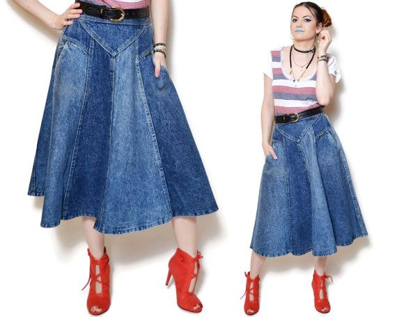 Vintage denim Skirt high waisted jean skirt midi blue skirt