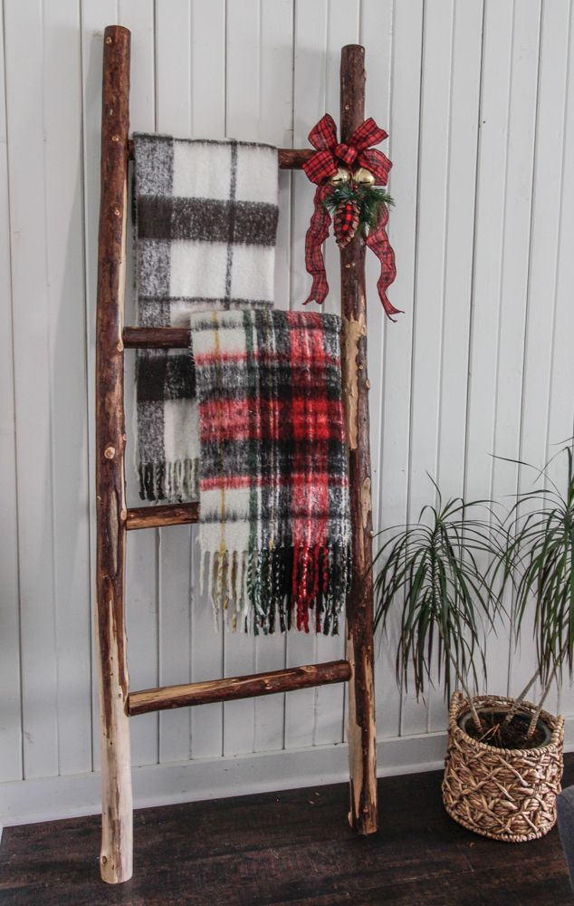 Diy Rustic Blanket Ladder Made From Tree Branches Deeplysouthernhome Tree Branch Decor Diy Rustic Blanket Ladder Tree Branch Decor