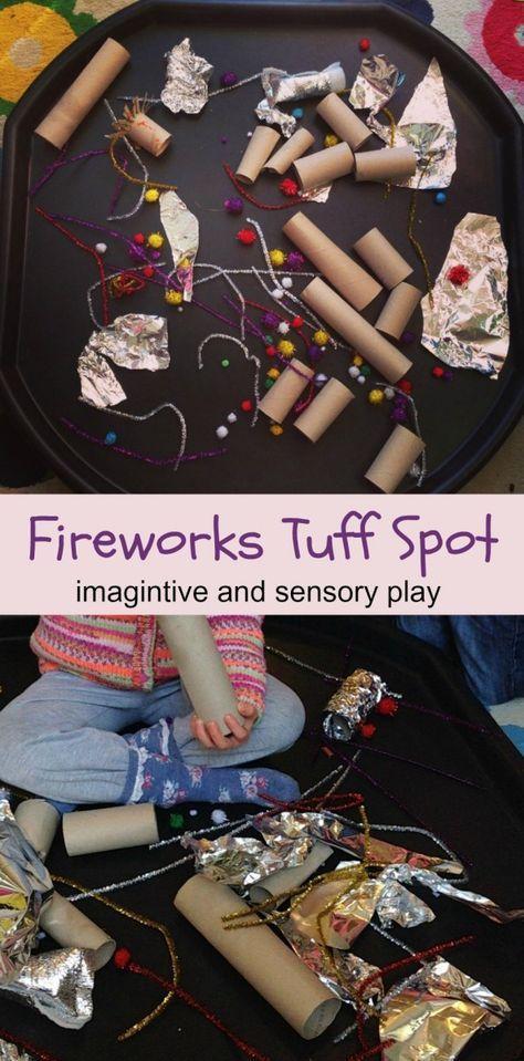 Fireworks tuff spot fun imaginative and sensory play for bonfire night.