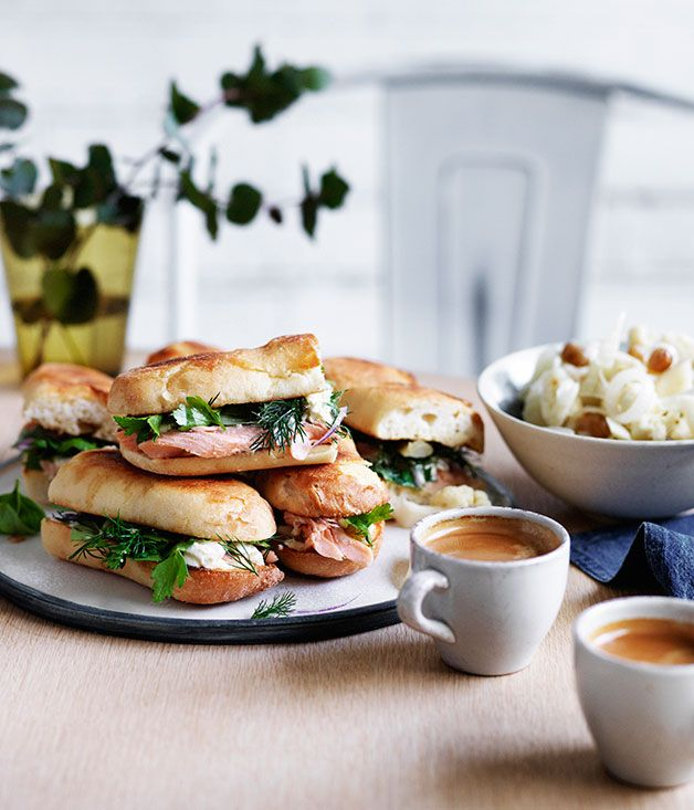 Australian Gourmet Traveller recipe for smoked trout and pickled cauliflower rolls
