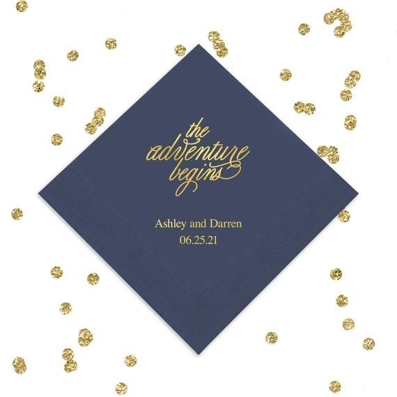 100 Personalized Napkins Personalized Napkins Wedding Napkins Custom Monogram The Adventure Begins Wedding Napkins Premium 3 ply quality