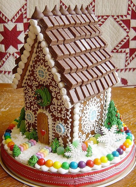 9 new ideas for the gingerbread house - Comfortable home      [ decorative icing, chocolate roof... lets start there ]