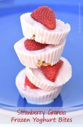 Strawberry Granola Frozen Yoghurt Bites Recipe - great for breakfast snack time or dessert - super simple healthy recipe for kids