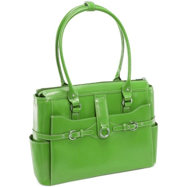 McKlein Willow Springs Leather Laptop Briefcase ($160) ❤ liked on Polyvore featuring accessories, tech accessories, green, leather computer briefcase, leather laptop briefcase, computer briefcase, padded laptop case and laptop briefcase