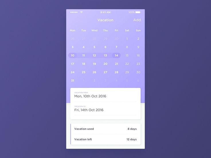 HUB calendar view – User interface by Kamil Janus
