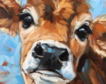 Cow Painting, 6x6 inch original impressionistic oil painting of a Cow, paintings of cows, cow art