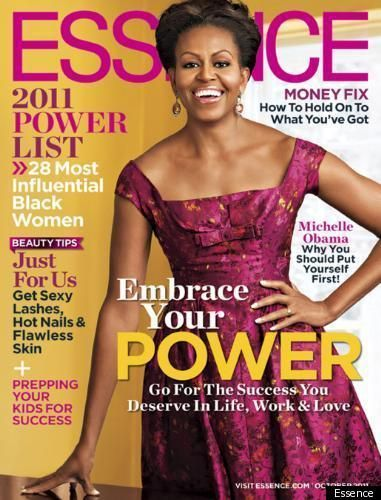 This will happen one day!  The cover of Essence I mean...but without the First Lady dress.